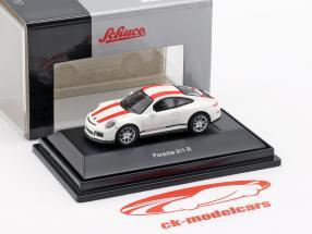 Porsche 911 (991) R Opførselsår 2016 hvid med rød striber 1:87 Schuco