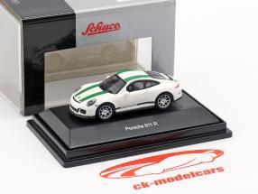 Porsche 911 (991) R anno di costruzione 2016 bianco con verde strisce 1:87 Schuco