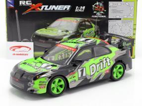 X-Tuner R/C Drift Car mit Pylonen grün / schwarz / grau 1:14 NewRay