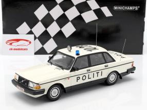 Volvo 240 GL polícia Dinamarca ano de construção 1986 branco 1:18 Minichamps