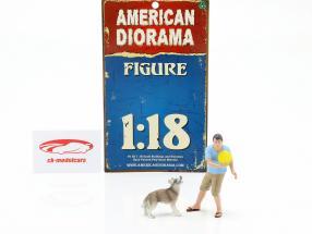 Mand med hund figur sæt 1:18  American Diorama