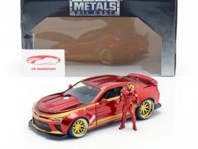 Chevrolet Camaro 2016 med figur Iron Man Marvel's The Avengers rød / guld 1:24 Jada Toys