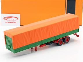 flatbed semitrailers with cover green / orange 1:43 ixo