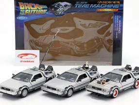 3 Set DeLorean DMC-12 Back to the Future Part 1-3 1985-90 1:24 Welly