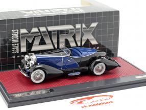 Duesenberg J SWB French True Speedster by Figoni 1931 schwarz / blau 1:43 Matrix