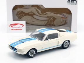Shelby Mustang GT500 ano de construção 1967 branco / azul 1:18 Solido