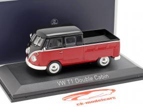 Volkswagen VW T1 cabine double année de construction 1961 rouge / noir 1:43 Norev