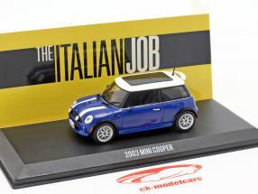 Mini Cooper S año de construcción 2003 película The Italian Job (2003) azul / blanco 1:43 Greenlight