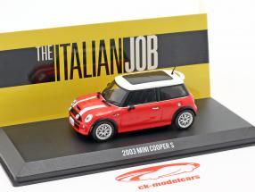 Mini Cooper S Bouwjaar 2003 film The Italian Job (2003) rood / wit 1:43 Greenlight