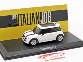 Mini Cooper S Bouwjaar 2003 film The Italian Job (2003) wit / zwart 1:43 Greenlight