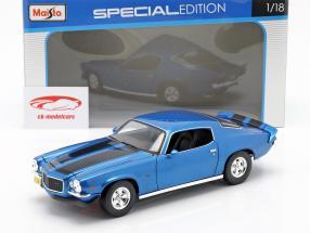 Chevrolet Camaro ano de construção 1971 azul metálico / preto 1:18 Maisto
