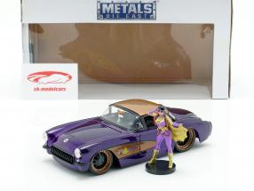 Chevy Corvette ano de construção 1957 com Batgirl DC Comics roxo escuro metálico 1:24 Jada Toys