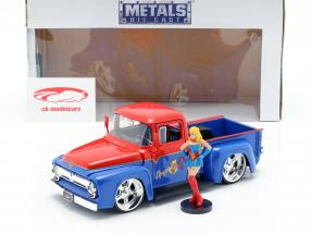 Ford F-100 Pick Up year 1956 with Supergirl DC Comics red / blue 1:24 Jada Toys