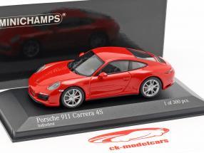 Porsche 911 (991 II) Carrera 4S anno di costruzione 2016 guardie rosso 1:43 Minichamps