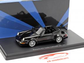 Porsche 911 (964) Turbo Cabriolet year 1993 black 1:43 AutoCult