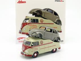 Volkswagen VW T1a Bus met Brezelkäfer lichaam beige / rood / grijs 1:18 Schuco