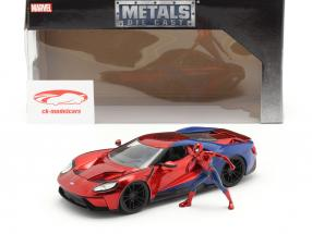 Ford GT 2017 with figure Movie Spider-Man (2017) red / blue 1:24 Jada Toys