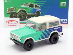 Ford Bronco Falken Tires Opførselsår 1976 grøn / blå / hvid 1:18 Greenlight