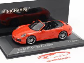Porsche 911 (991 II) Carrera 4 Cabriolet 2016 lava orange 1:43 Minichamps