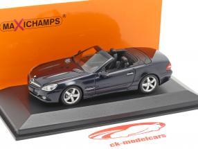 Mercedes-Benz SL-klasse (R230) Opførselsår 2008 mørkeblå metallisk 1:43 Minichamps