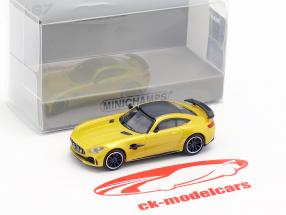 Mercedes-Benz AMG GT-R Bouwjaar 2017 geel metalen 1:87 Minichamps
