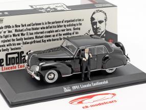 Lincoln Continental 1941 filme The Godfather com figura preto 1:43 Greenlight