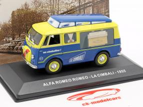 Alfa Romeo busje La Cimbali Bouwjaar 1955 geel / blauw 1:43 Altaya