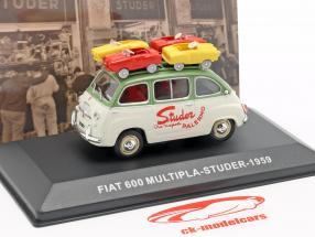Fiat 600 Multipla van Studer year 1959 green / cream white 1:43 Altaya