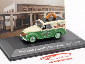 Fiat 500C van Auricchio année de construction 1951 crème blanc / vert 1:43 Altaya