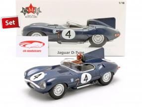 Set: Jaguar D-Type #4 Vinder 24h LeMans 1956 med chauffør figur 1:18 CMR
