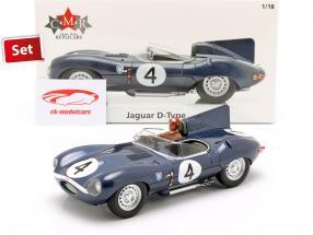 Set: Jaguar D-Type #4 winnaar 24h LeMans 1956 met bestuurder figuur 1:18 CMR