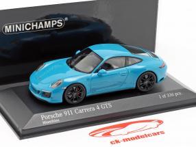 Porsche 911 (991 II) Carrera 4 GTS ano de construção 2017 miami azul 1:43 Minichamps