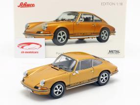 Porsche 911 S coupe Opførselsår 1973 guld metallisk 1:18 Schuco