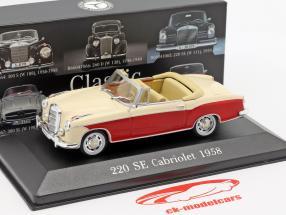 Mercedes-Benz 220 SE Ponton Cabriolet (W128) year 1958-1960 red / beige 1:43 Premium Collectibles