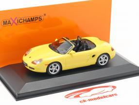 Porsche Boxster S cabriolet année de construction 1999 jaune 1:43 Minichamps