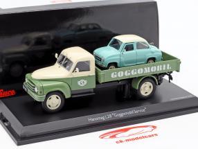 Hanomag L28 Pritsche Goggomobil Service vert / beige 1:43 Schuco