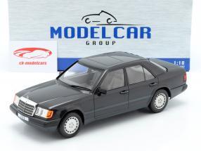 Mercedes-Benz 300 E (W124) ano de construção 1984 preto metálico 1:18 Model Car Group