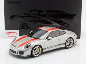 Porsche 911 R Bouwjaar 2016 zilver met rood strepen 1:12 Minichamps