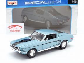 Ford Mustang GT Cobra Jet Ano 1968 azul metálico / preto 1:18 Maisto