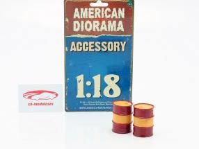 Set avec 2 Barils de pétrole rouge / orange 1:18 American Diorama