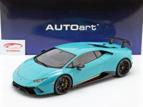 Lamborghini Huracan Performante Année de construction 2017 lumière bleu 1:12 AUTOart