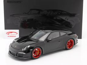 Porsche 911 R Bouwjaar 2016 zwart met rood velgen 1:12 Minichamps
