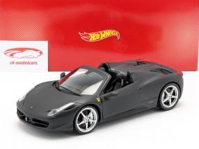 Ferrari 458 Italia Spider 2011 matzwart 1:18 HotWheels Erfgoed
