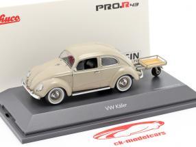 Volkswagen VW Besouro de pretzel com Auto Porter bege 1:43 Schuco