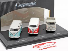 3-Car Set Volkswagen VW T1 Bus 1:72 Cararama