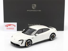 Porsche Taycan Turbo S Bouwjaar 2019 carrara wit met Showcase 1:18 Minichamps