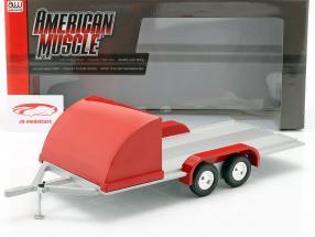 Four wheel open Car Trailer red / silver gray 1:18 Autoworld