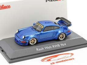 Porsche 911 (964) RWB Rauh-Welt blauw metallic 1:43 Schuco