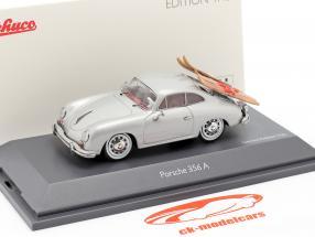 Porsche 356A Esqui aquático cinza prateado metálico 1:43 Schuco