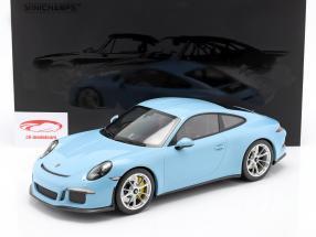 Porsche 911 (991) R Bouwjaar 2016 gulf blauw 1:12 Minichamps